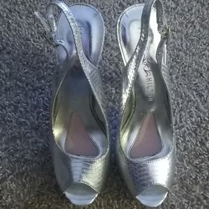 Silver sling back shoes